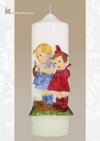 Geschenkkerze im Hummel-Stil, zwei Mädchen