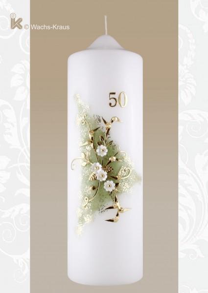 Kerze zum 50 jährigen Ehejubiläum grün-gold