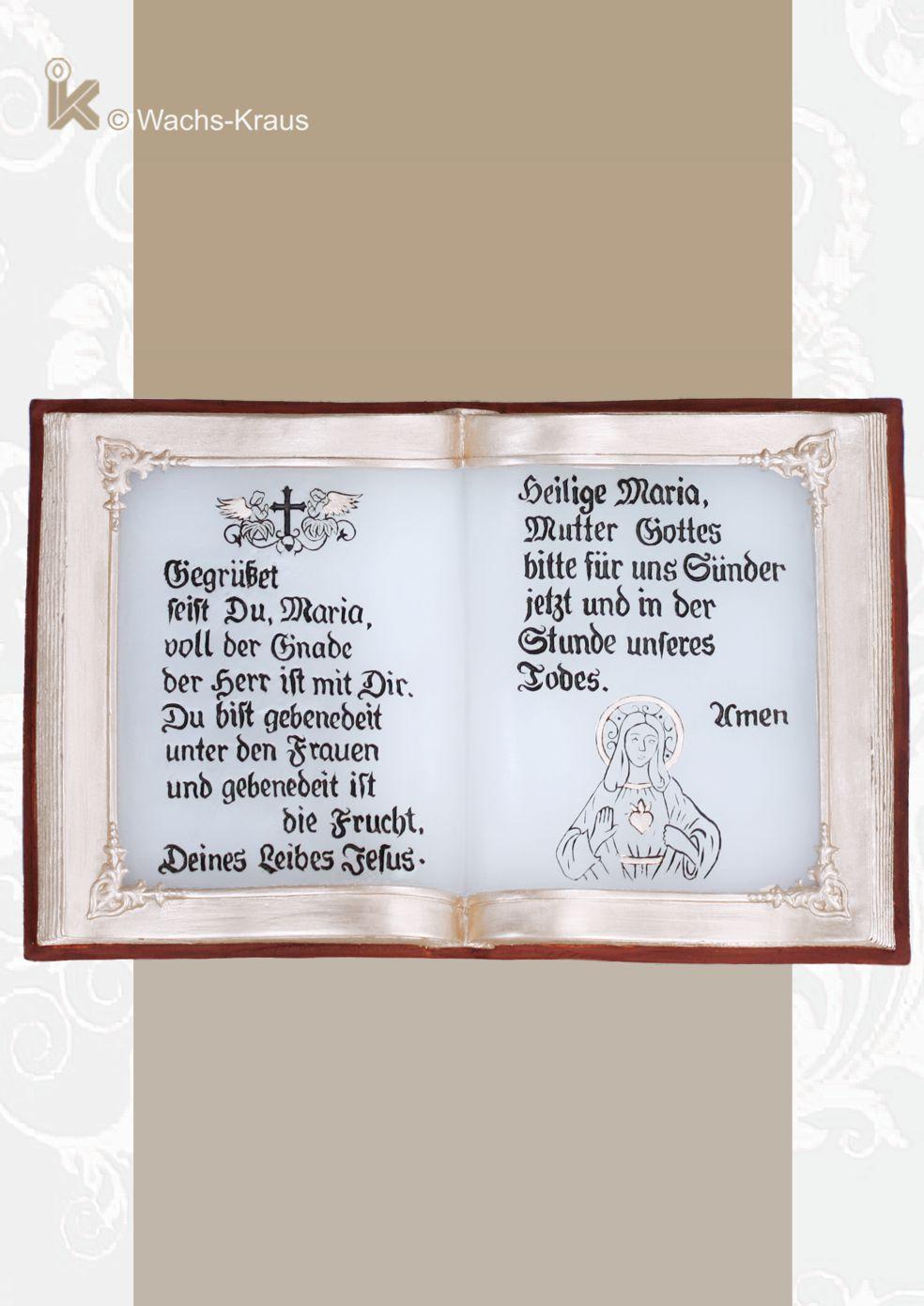 Wachsbuch Gegrüßet seist Du Maria. Aus besonders temperaturbeständigem Wachs gegossene Wachsbuch in Handarbeit bemalt.