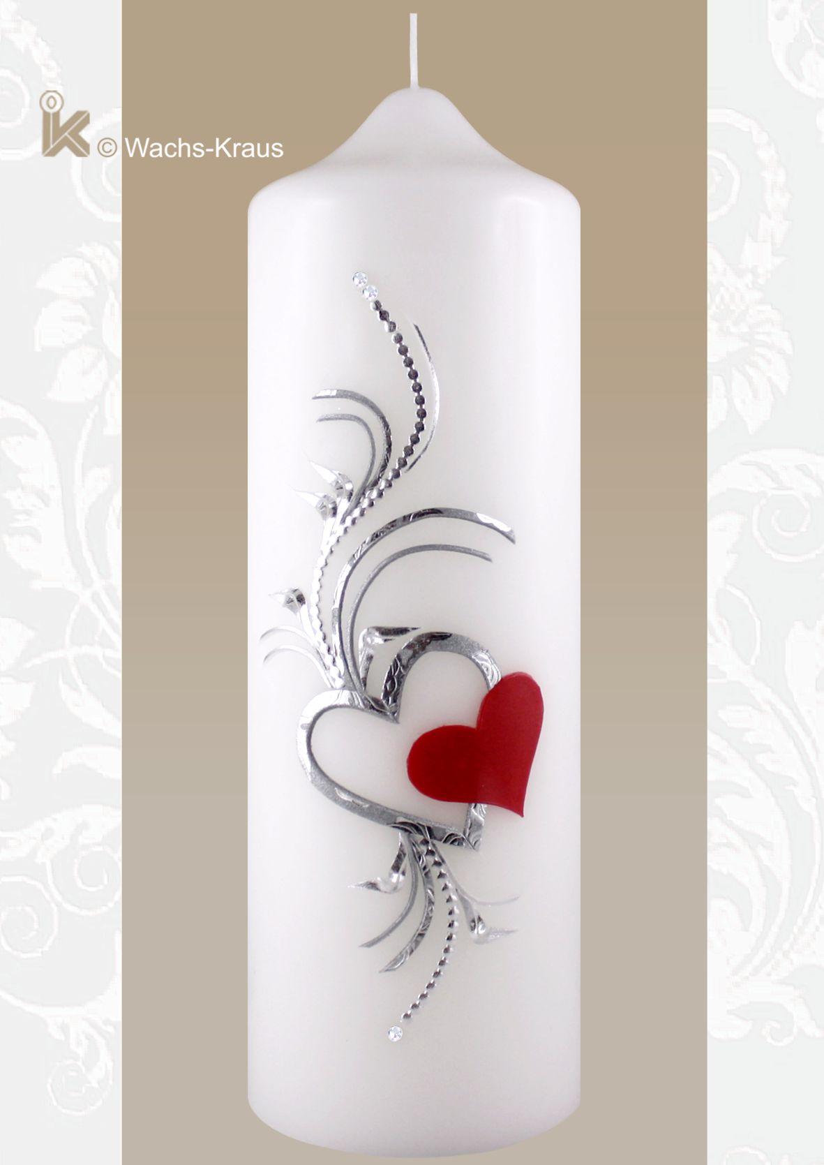Kerze zur Trauung mit silbernem und rotem Herz edel verziert
