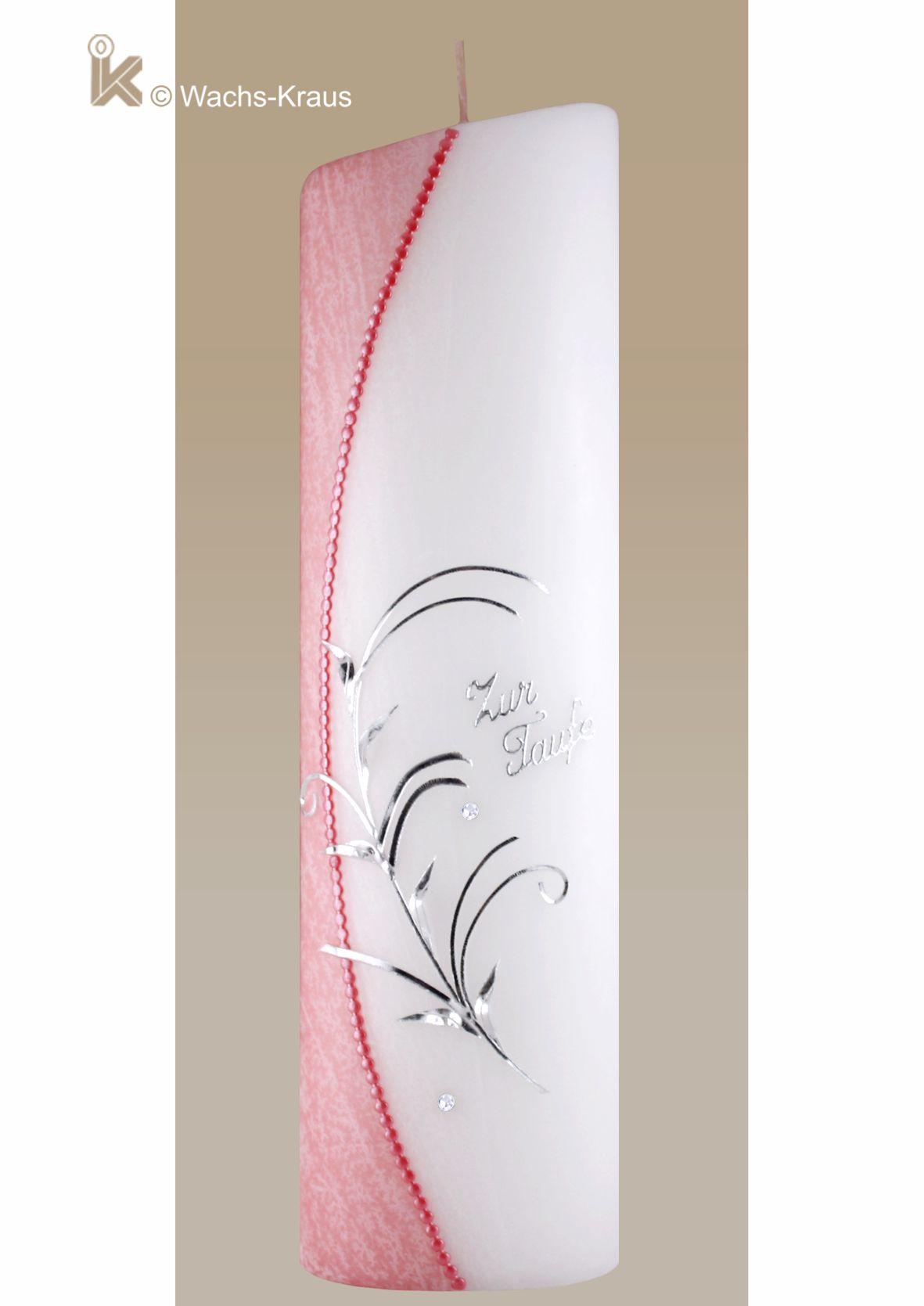 Wenn Sie eine besondere Taufkerze für Ihr Mädchen suchen. Taufkerze moderne Form mit flüssigem rosafarbenem Wachs überzogen.