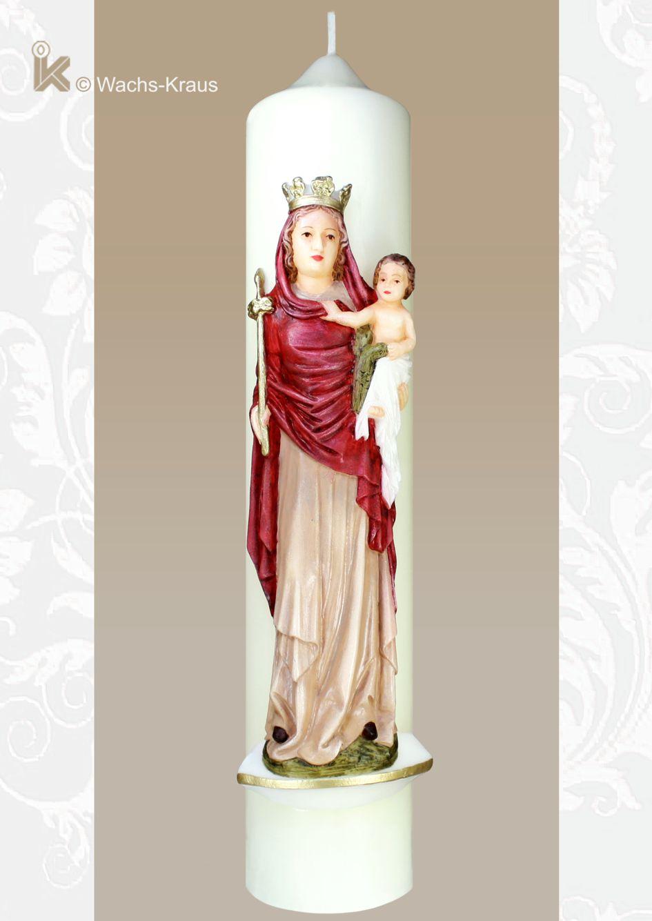 Marienkerze Madonna mit Kind, rot aus Wachs gegossen