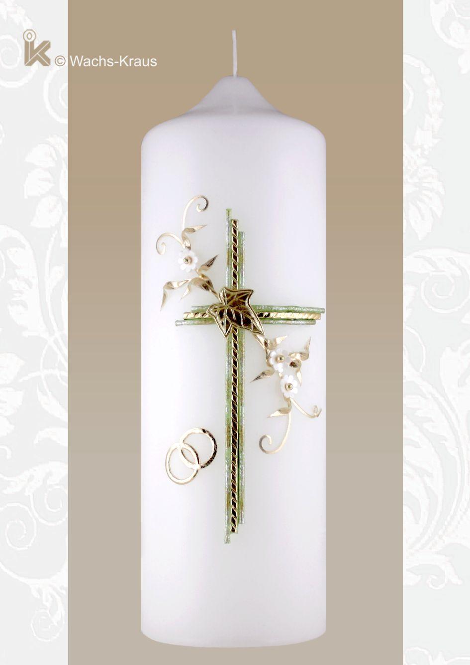 Hochzeitskerze Efeublatt und Kreuz