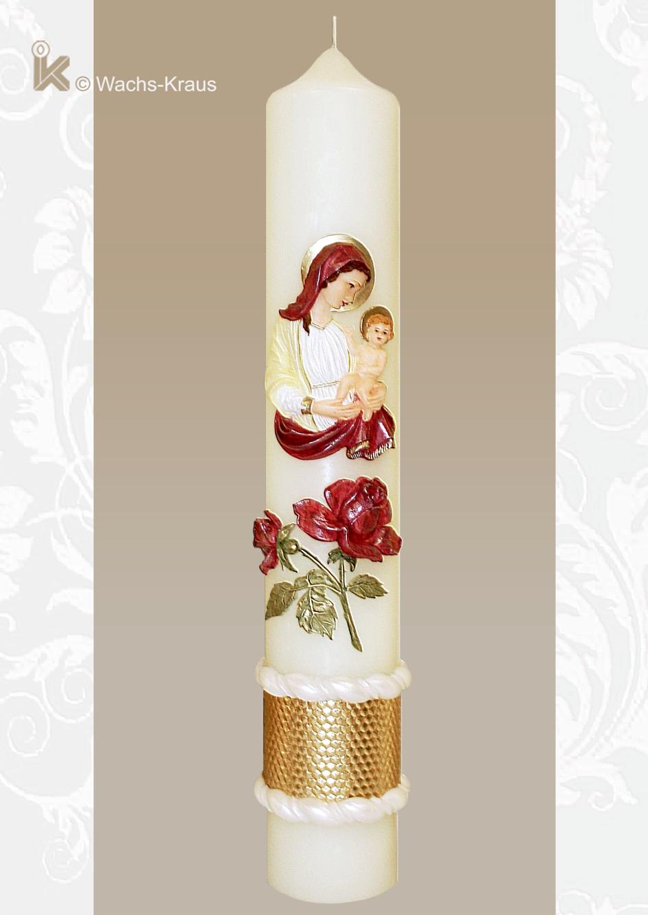Außergewöhnlich schöne Marienkerze Mutter Gottes mit Kind, aufwendig bemaltes Blumendekor und Abschlussborte.