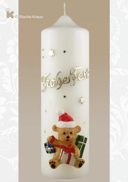 Weihnachtskerze Frohes Fest, Bär mit Geschenken...super plastisch