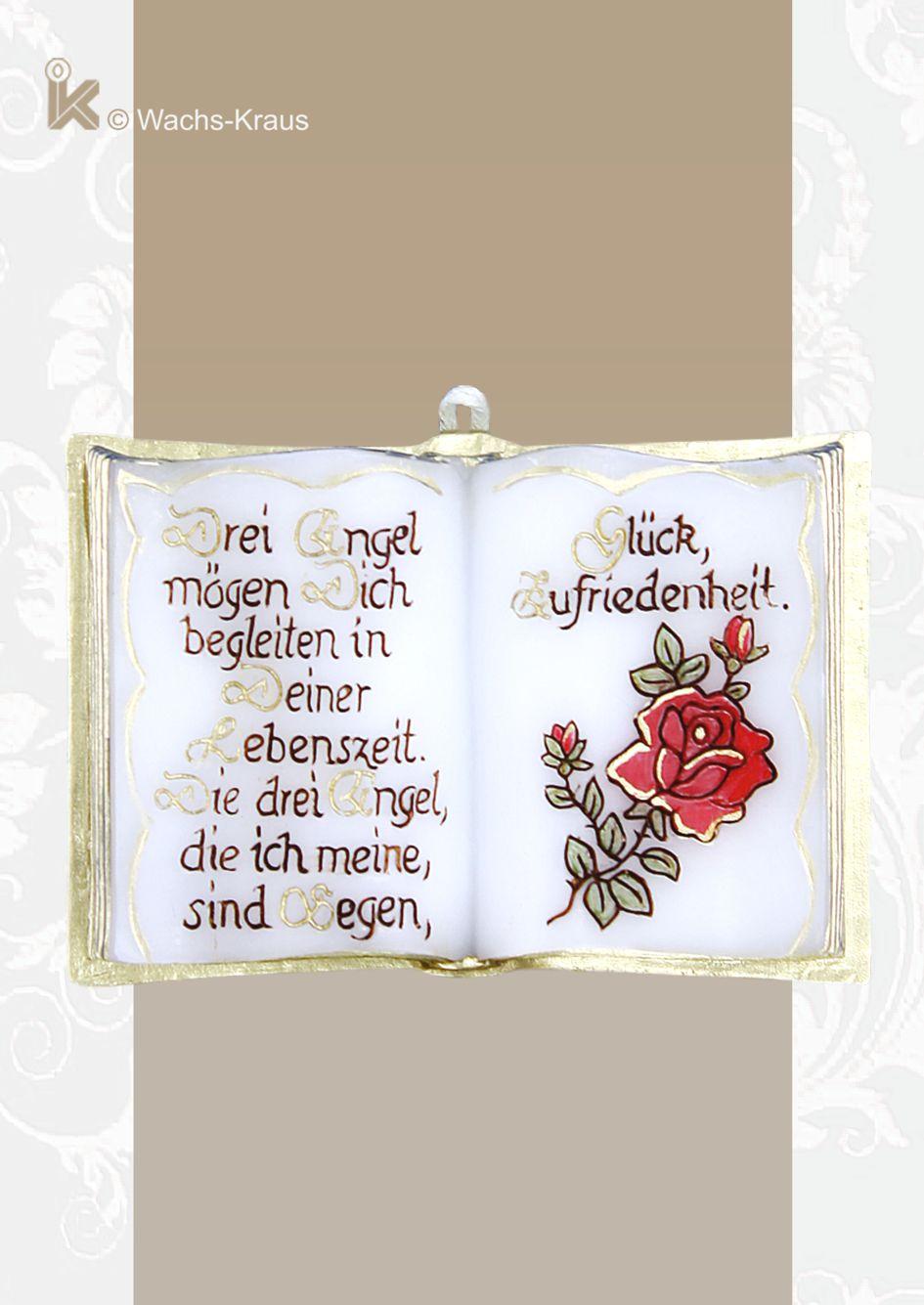 Wachsbuch Rose. Drei Engel mögen Dich begleiten in Deiner Lebenszeit. Die drei Engel, die ich meine sind Segen, Glück, Zufriedenheit. Reine Handarbeit .