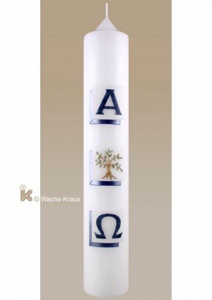 Taufkerze Lebensbaum blau-mit Alpha & Omega aus Wachs gegossen