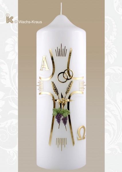 Klassische Hochzeitskerze, Kreuz, Ähren und Trauben, Ringe
