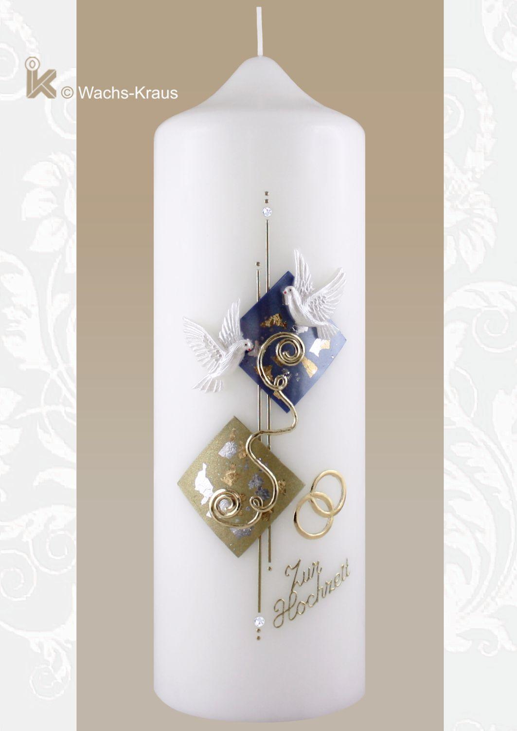 Kerze für die standesamtliche Trauung, blau gold