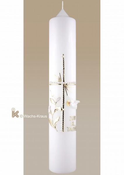 Taufkerze neutral weiß-gold, Kreuz, Blume Taube, Schrift