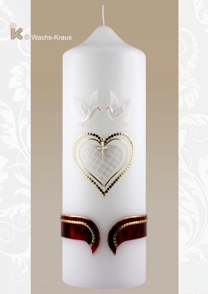 Brautkerze Herz, Vintage. Eine klassische Brautkerze mit Herzen, zwei Tauben und einem Strasskreuz, sehr aufwändig verziert.