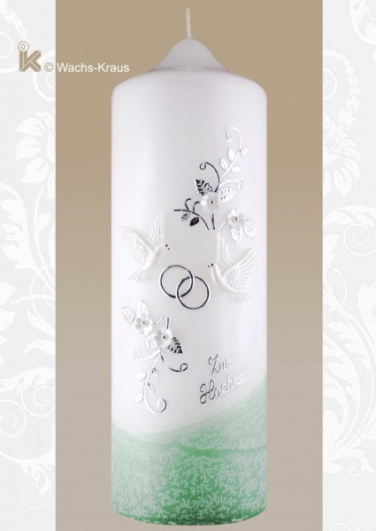 Hochzeitskerze Silber grün