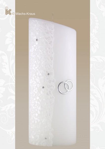 Hochzeitskerze in modernem Design, Silber