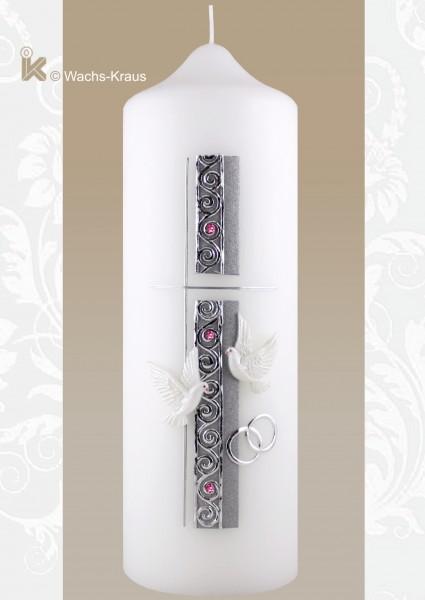 Hochzeitskerze schlicht Silber
