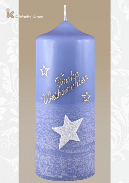 Weihnachtskerze Stern, blau