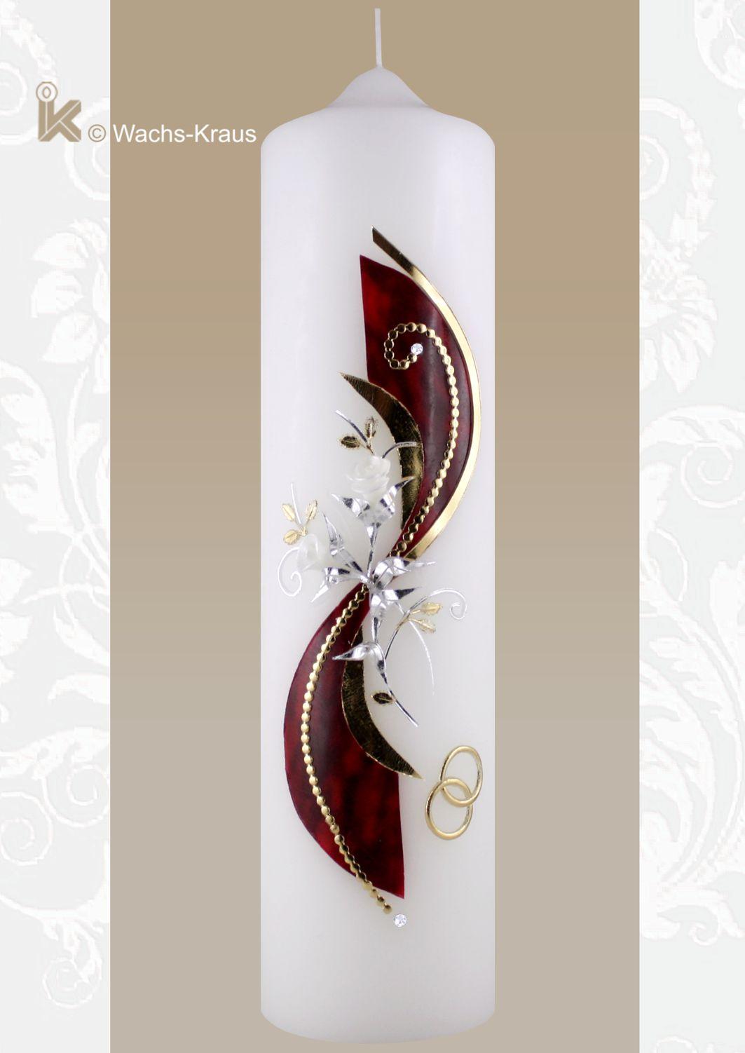 Hochzeitskerze mit geflammt roten Wachsplatte und gold-silber Kombination  besticht durch ihre außergewöhnliche Optik.