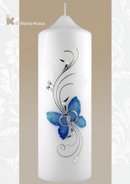 Hochzeitskerze Schmetterling blau - silber