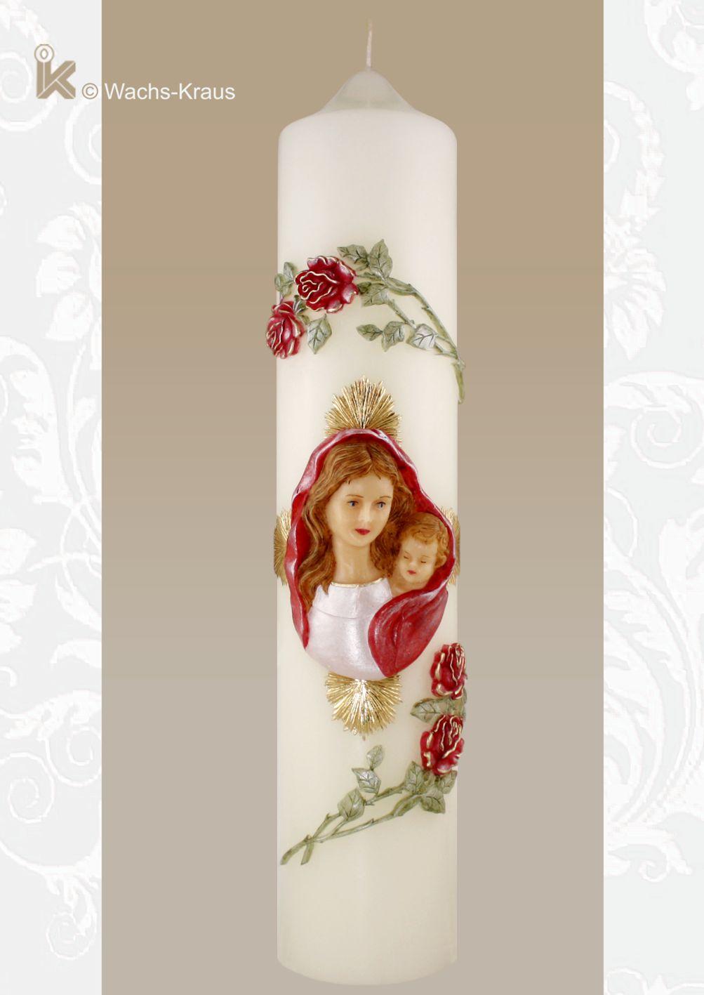 Marienkerze mit Rosen. Eine wunderschöne, in reiner Handarbeit verzierte Marienkerze mit einer Gottesmutter und Rosen , die aus Wachs gegossen sind.