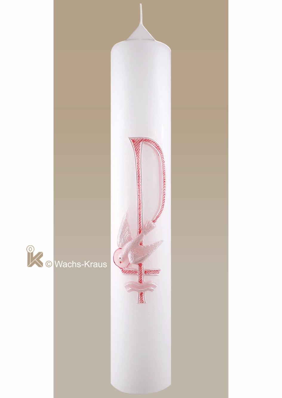 Taufkerze katholisch mit dem Christus-Monogramm PAX, rosa