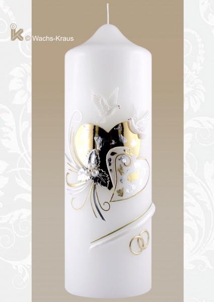Hochzeitskerze Herzen Silber-Gold