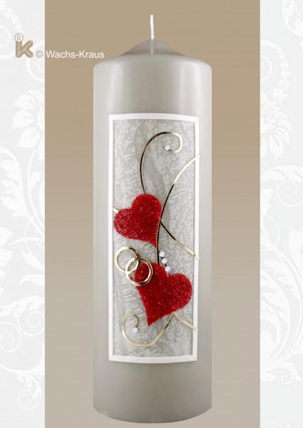 Hochzeitskerze grau, Herzen rot. Die besondere Hochzeitskerze