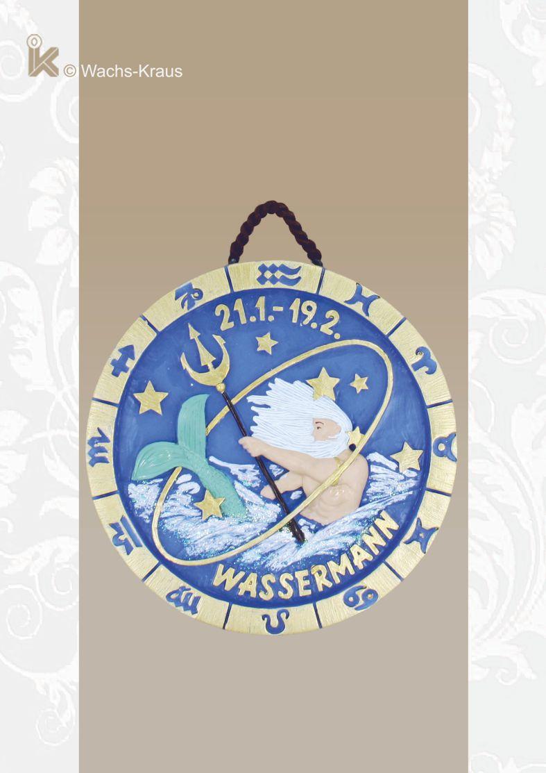 Sternzeichen Wassermann 21.1. - 19.2. Relief aus blauem Wachs gegossen und in Handarbeit bemalt. Oben ist eine Kordel zum Aufhängen.