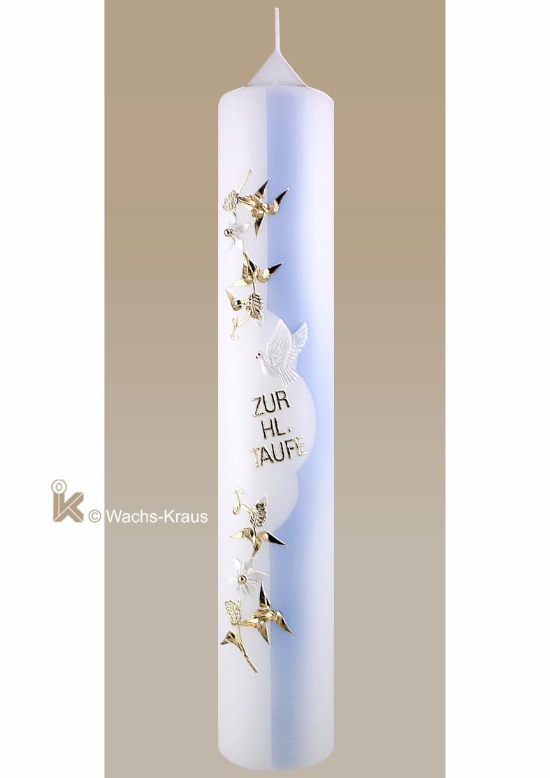 Wunderschöne Taufkerze mit aufwendiger Verzierung, das der Länge nach dargestellte Taufwasser, die hl. Geist Taube und der Schriftzug: Zur HL. Taufe
