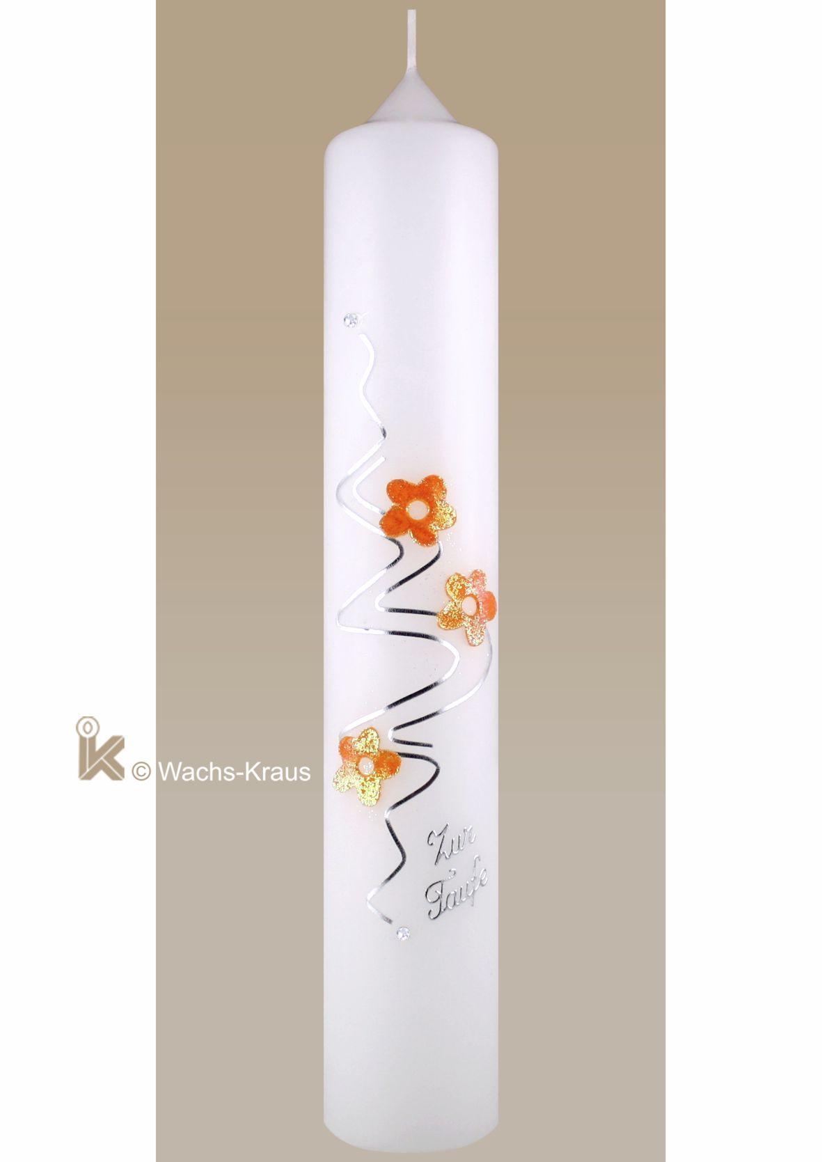 Taufkerze für Protestanten mit Blüten, orange-silber