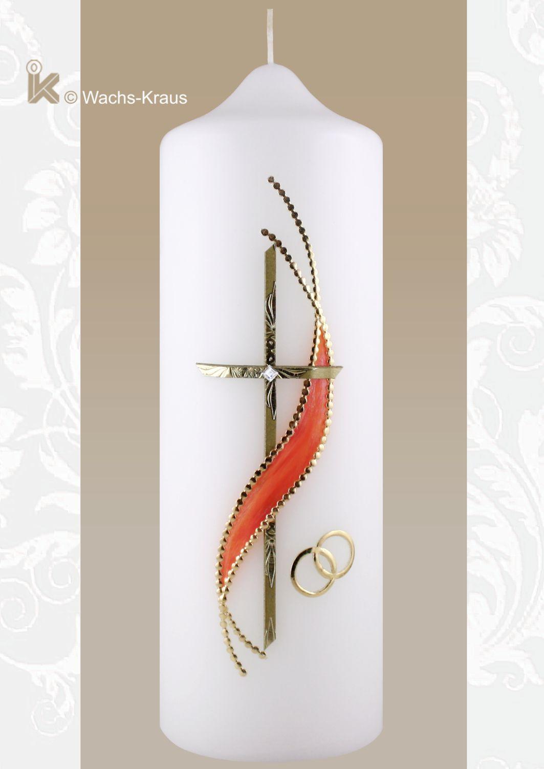 Hochzeitskerze goldenes Kreuz aprico verziert