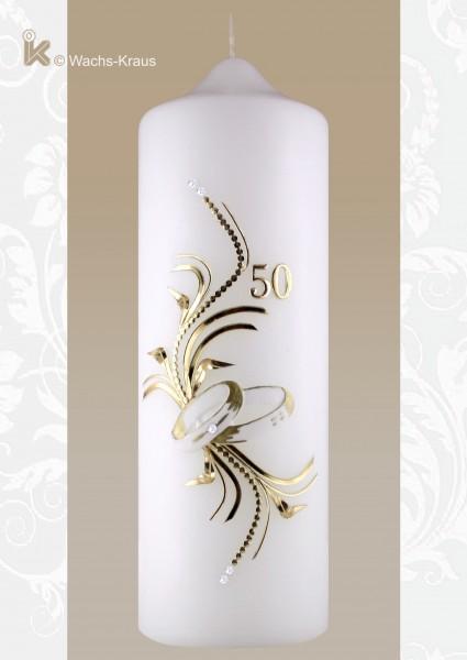 Kerze zur Goldenen Hochzeit Elegant