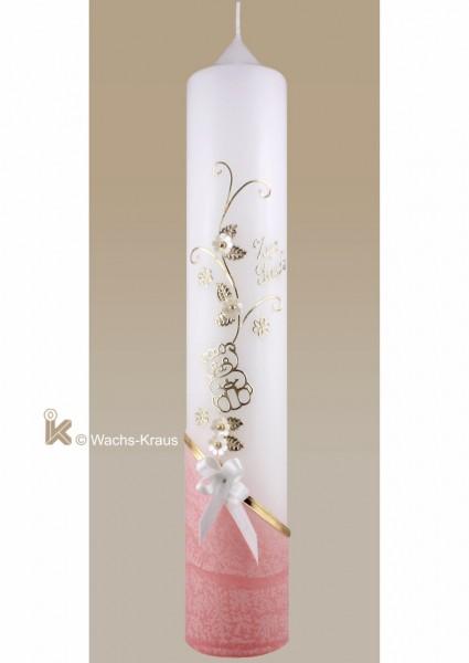 Taufkerze Bär, rosa gold mit Schleife Blumenranke aufwendig verziert