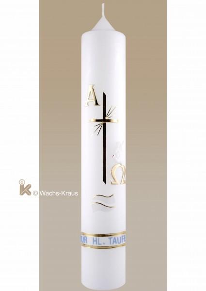 Taufkerze katholisch Junge, klassisch gold-blau, Kreuz, Alpha und Omega, Wellen