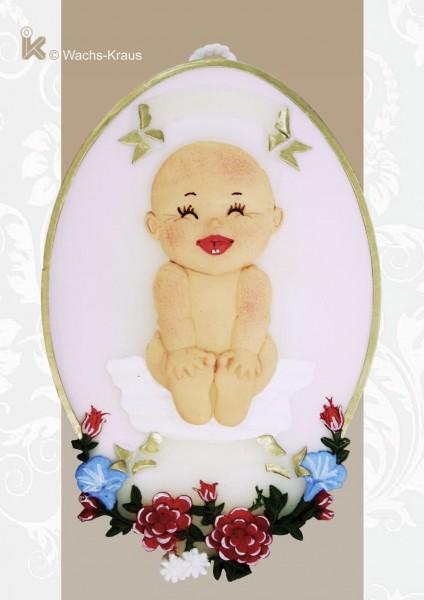 Ein zauberhaftes Geschenk: Wachsbild Baby rosa
