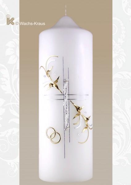 Hochzeitskerze Silber-Gold, Perlenkreuz