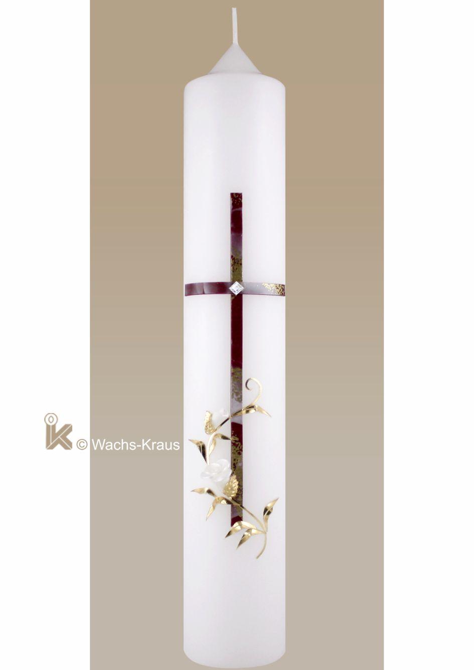 Taufkerze für Mädchen schlicht. Kreuz und goldene Ranke