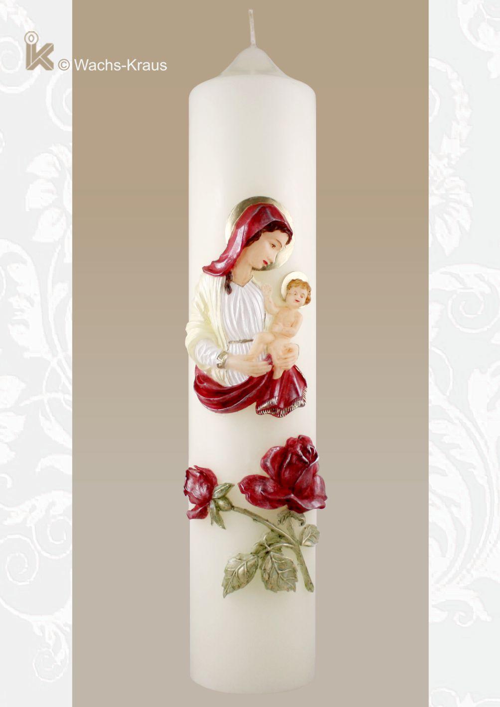 Marienkerze Madonna und Rosen. Fein modelliert und aus Wachs gegossen sind bei dieser Marienkerze sowohl die Mutter Gottes mit Kind als auch die Rosen.