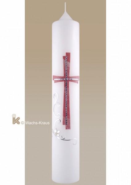 Moderne Taufkerze für Mädchen rosa marmoriertes-silbernes Kreuz