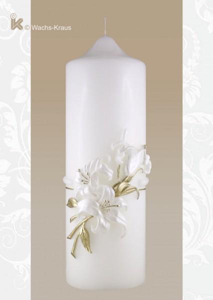 Zierkerze Lilie gold, Geburtstagskerze mit einer aus Wachs gegossenen Lilie
