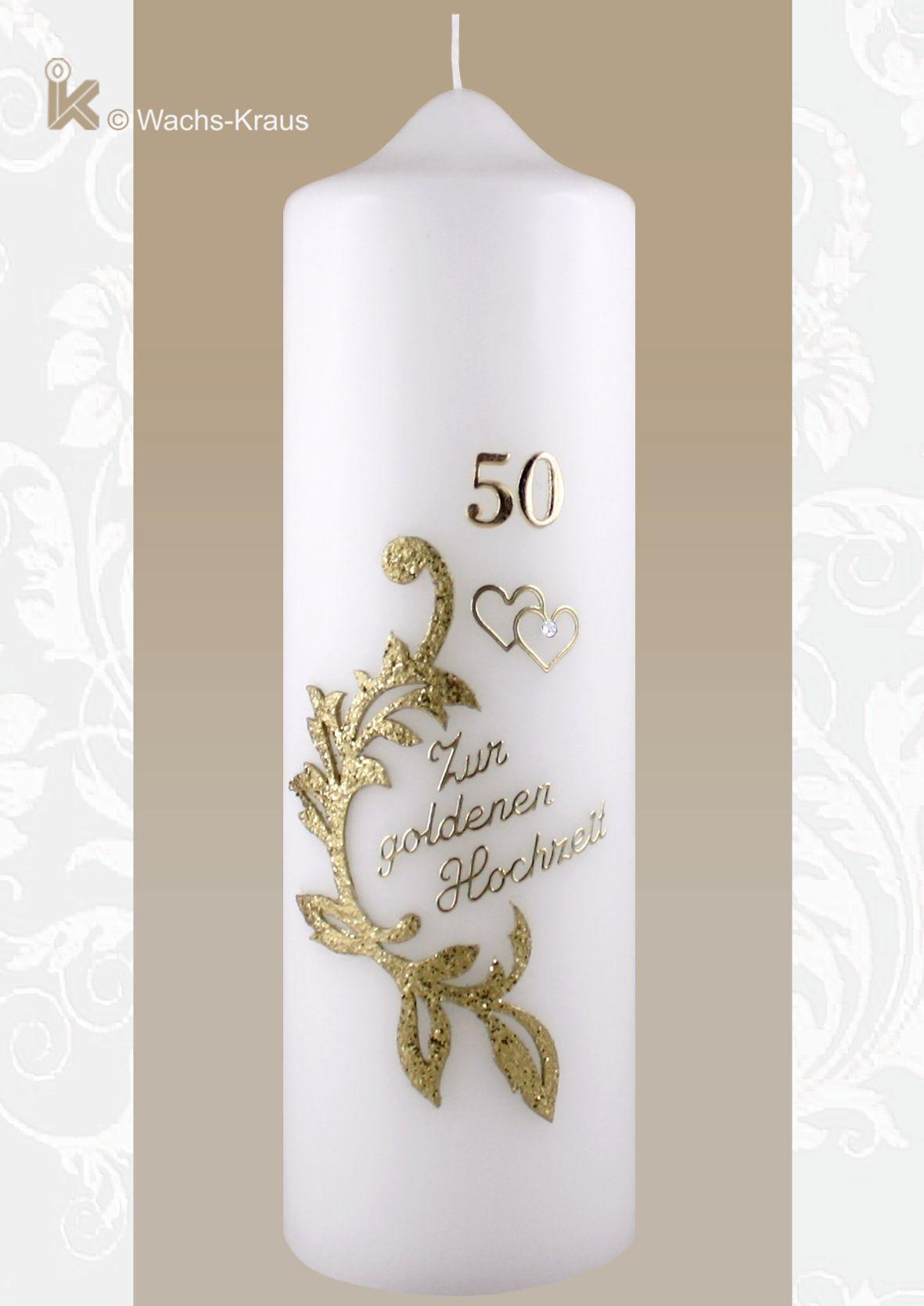Kerze zur Goldenen Hochzeit, geschmackvoll,  günstig und schön