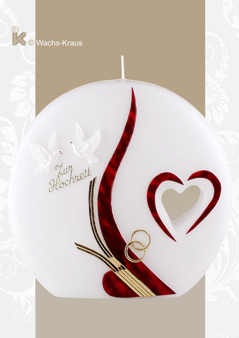 Eine Hochzeitskerze der Extraklasse. Die Kerze in Scheiben-Form mit einem herausgearbeiteten Herz. Ein Taube-paar, sehr harmonische Verzierung.