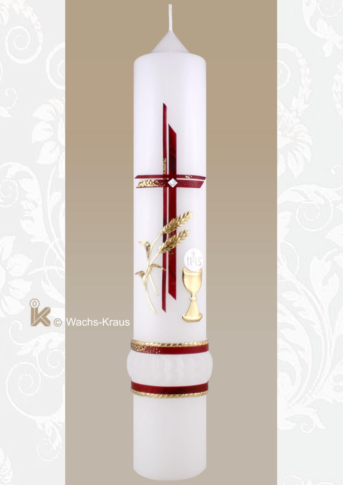 Klassische, kurze, gezwickte Kommunionkerze mit rotem Kreuz, goldenem Kelch und Hostie sowie einer feinen, goldenen Blumen Ranke.