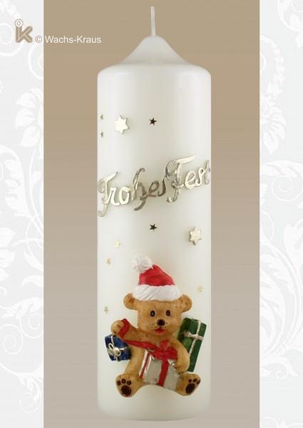 Weihnachtskerze Frohes Fest, creme-farbit