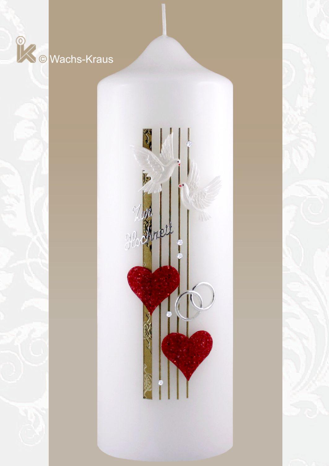 Hochzeitskerze zwei rote Glimmer-Herzen