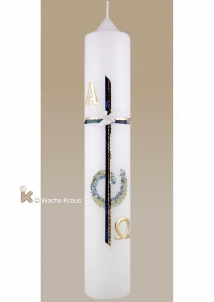 Taufkerze Junge modern mit Glimmer-Kringel, Kreuz und Taube
