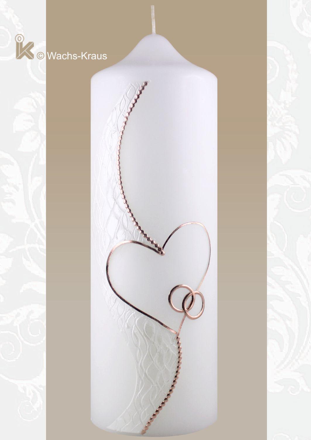 Wunderschöne Brautkerze in Rosègold: Silhouette