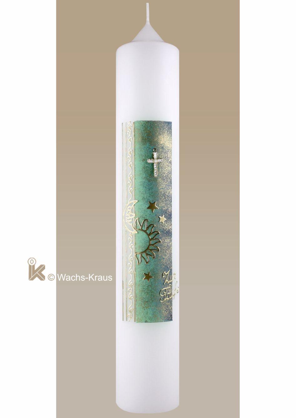 Taufkerze Kreuz, Sonne und Sterne, Schriftzug, grün-gold