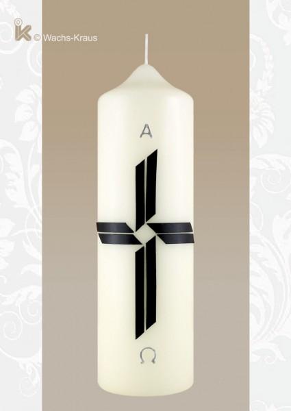 Trauerkerze schwarzes Kreuz mit Alpha und Omega