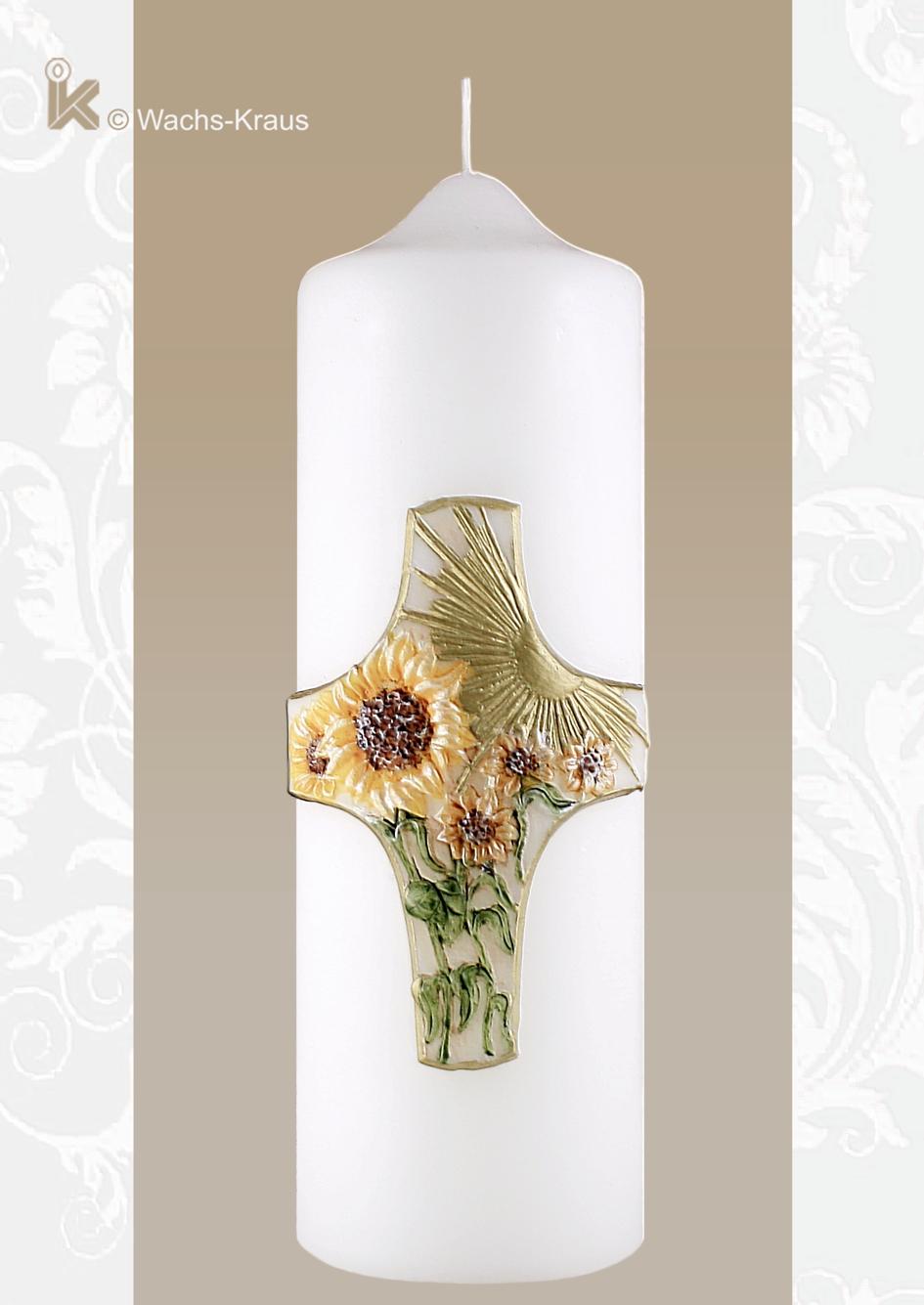 Geschmackvoll gestaltete Geschenk / Jubiläumskerze mit Sonne und Sonnenblumen. Zahl passend auswählen = Art. Nr. 0101