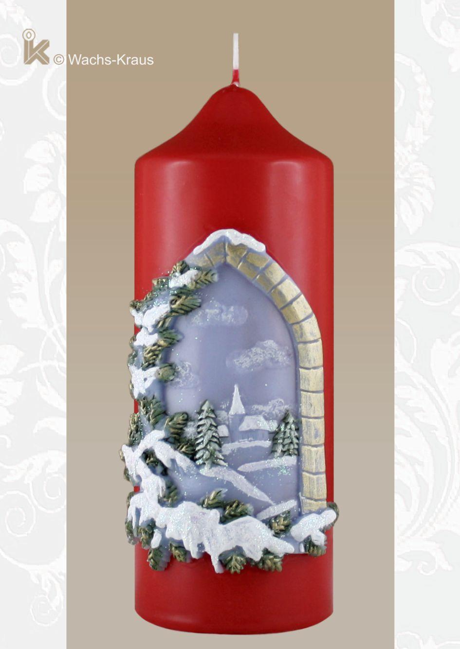 Stilvolle Weihnachtskerze Winterlandschaft, rot