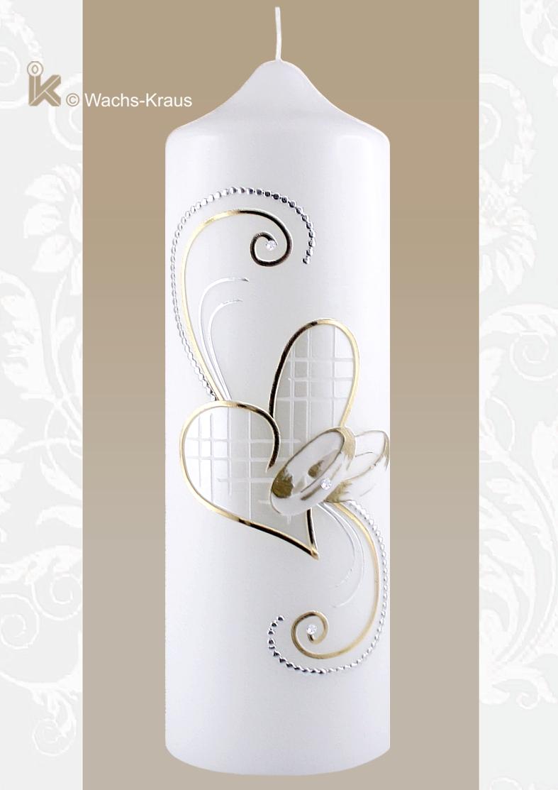 Hochzeitskerze in Silber und Gold. Das golden gefasste Herz mit einer Perlmutt-weißen Struktur-Wachsplatte, gegossenen Ringen, silber-gold Verzierung